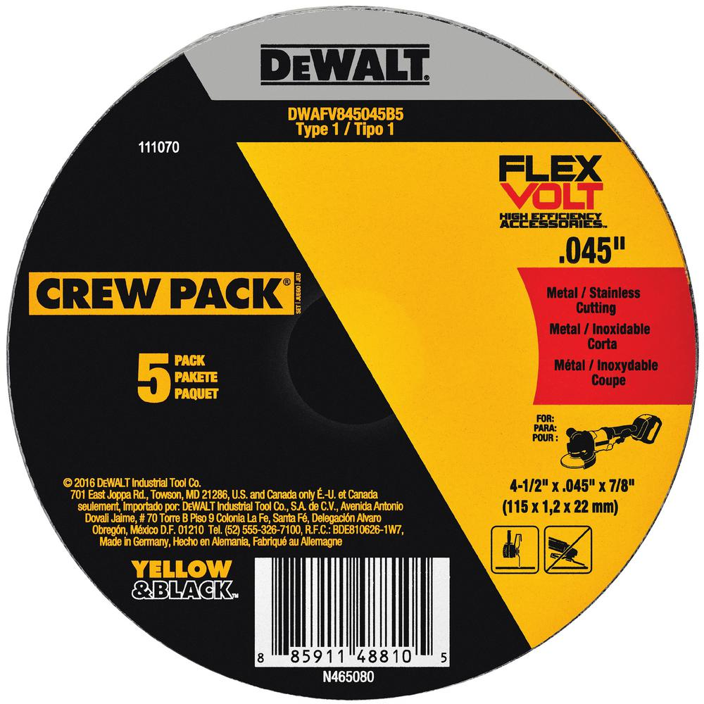 FlexVolt 4-1/2 in. x 0.045 in. x 7/8 in. Cutting Wheel