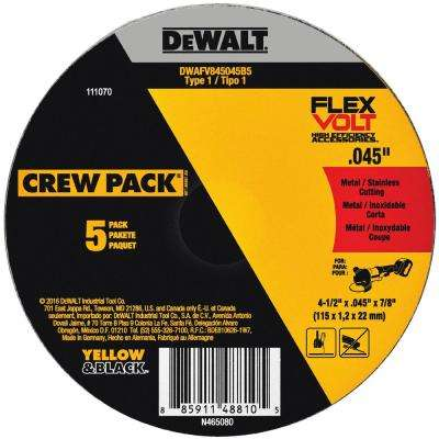 FLEXVOLT 4-1/2 in. x 0.045 in. x 7/8 in. Cutting Wheel (5-Pack) Type 1