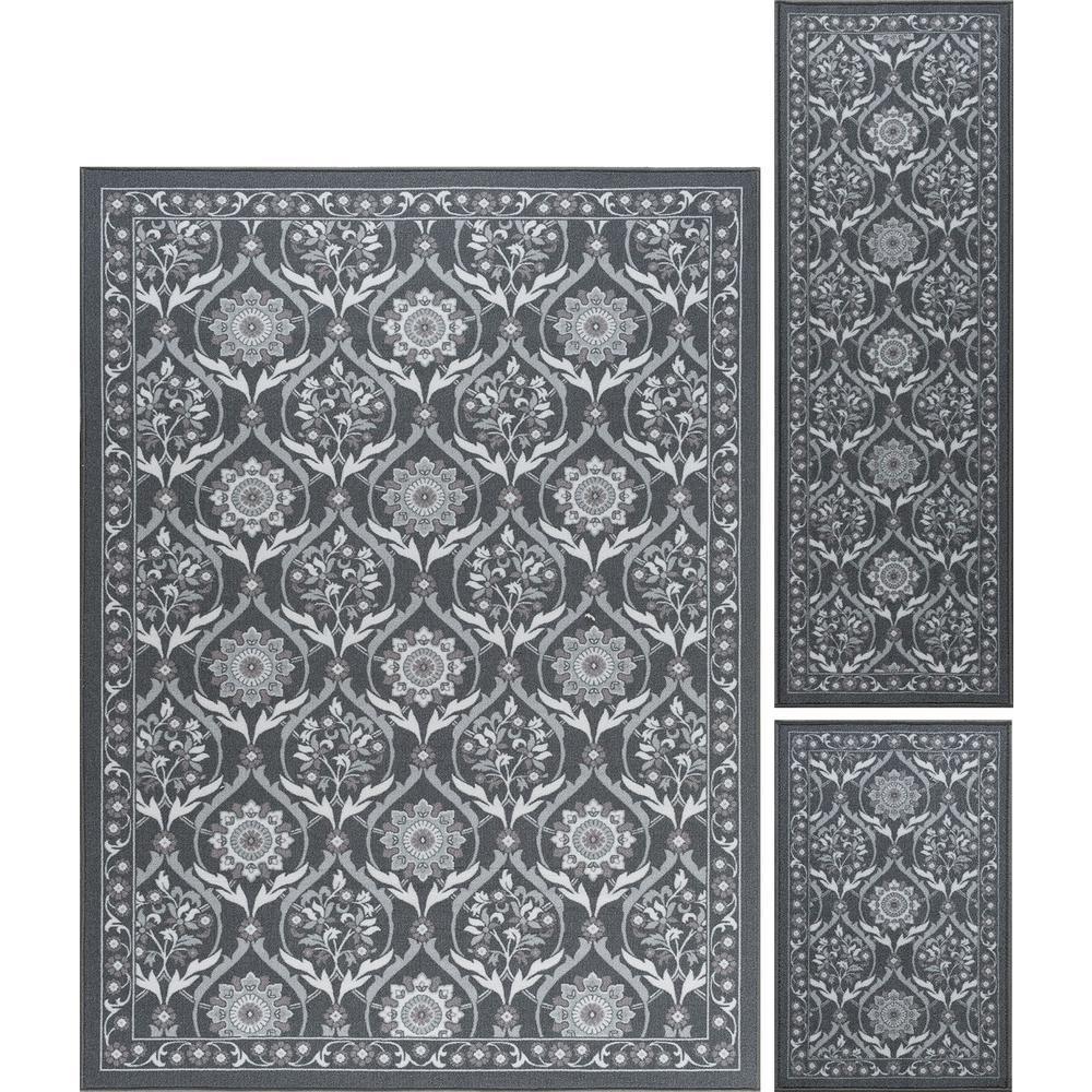Majesty Charcoal 5 ft. x 7 ft. 3-Piece Rug Set