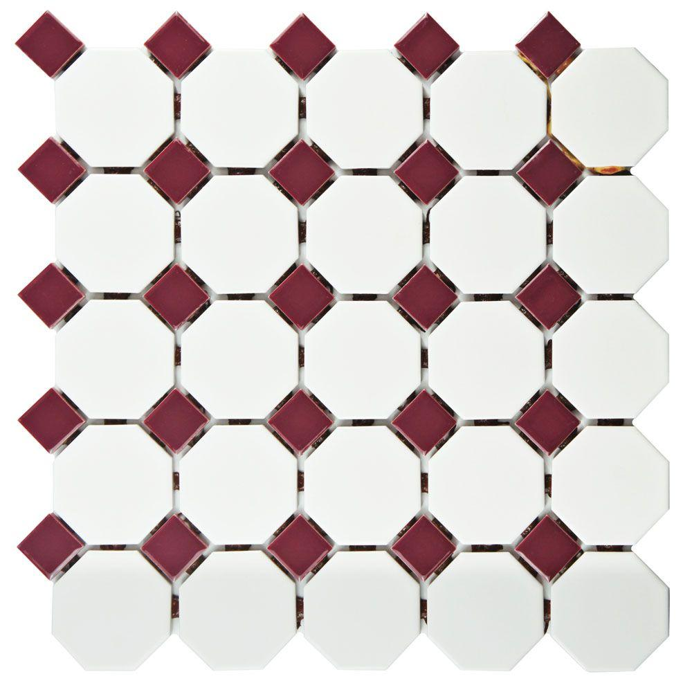 Merola tile metro octagon matte white with burgundy dot 11 12 in merola tile metro octagon matte white with burgundy dot 11 12 in dailygadgetfo Gallery