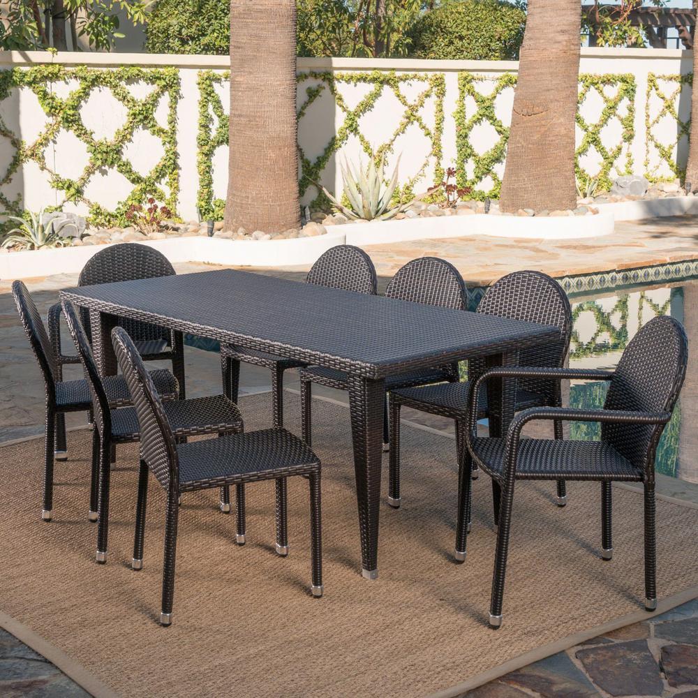 Aurora Multi-Brown 9-Piece Wicker Outdoor Dining Set
