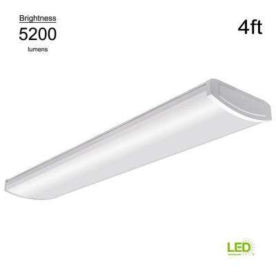 High Output 4 ft. White 5200 Lumen 4000K Integrated LED Wraparound Light (Direct Wire Powered, 57 Watt, multivolt)