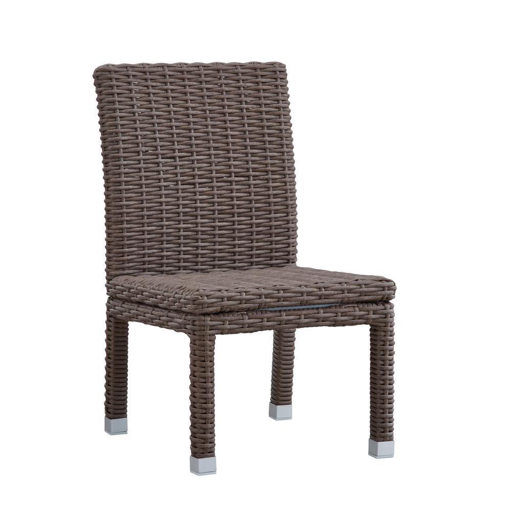 Camari Mocha Armless Wicker Outdoor Dining Chair (Set of 2)