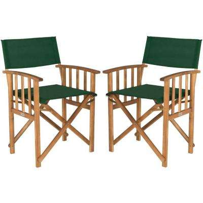 Laguna Teak and Green Folding Director's Chair (Set of 2)