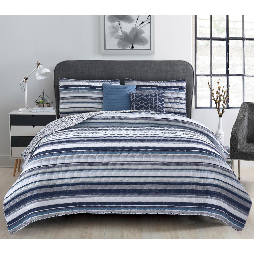 Celine 5-Piece Blue Stripe Full/Queen Quilt Set