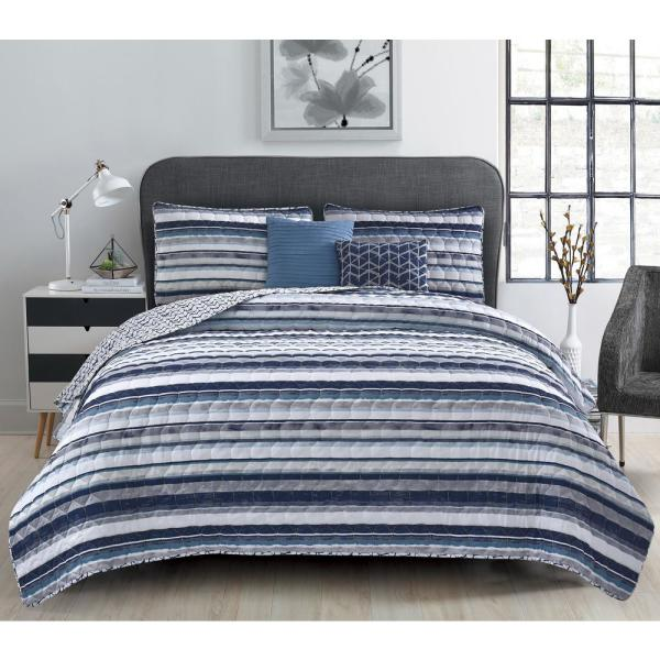 Teal Blue Striped Ruffled 4 pc Quilt Set Coverlet Queen Cal King Size Bedding
