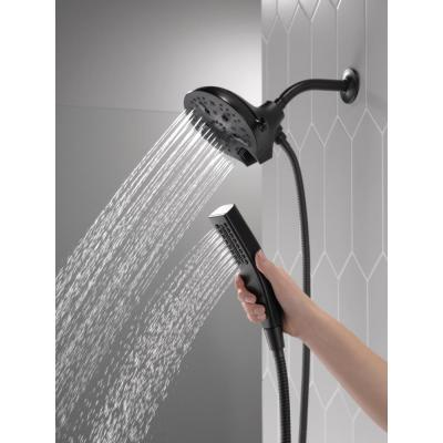 In2ition 5-Spray 6.06 in. Wall Mount Dual Shower Heads with H2Okinetic Technology in Matte Black