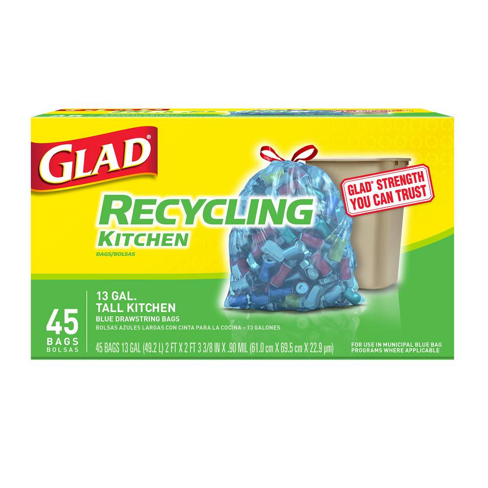 Glad 13 Gal. Tall Kitchen Drawstring Translucent Blue Trash or Recycling Bags (45-Count)