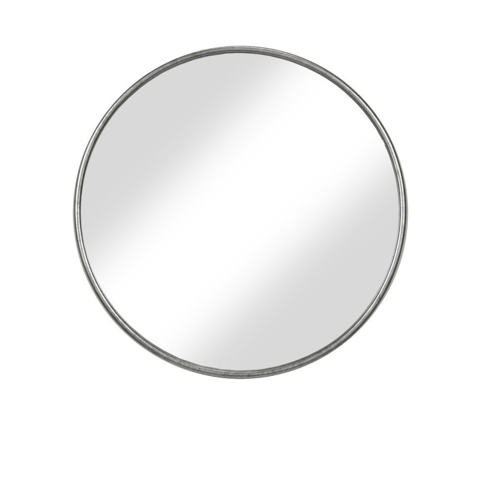 Medium Round Pewter Hooks Contemporary Mirror (30 in. H x 36 in. W)