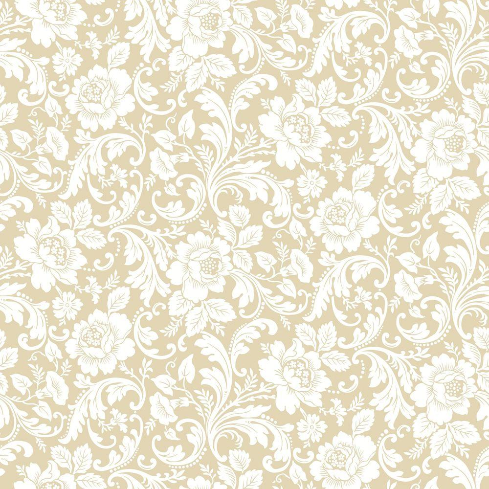 The Wallpaper Company 8 in. x 10 in. Beige Floral Fantasy Wallpaper Sample