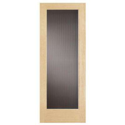 Modern Full Lite Solid Core Pine Reed Glass Interior Door Slab