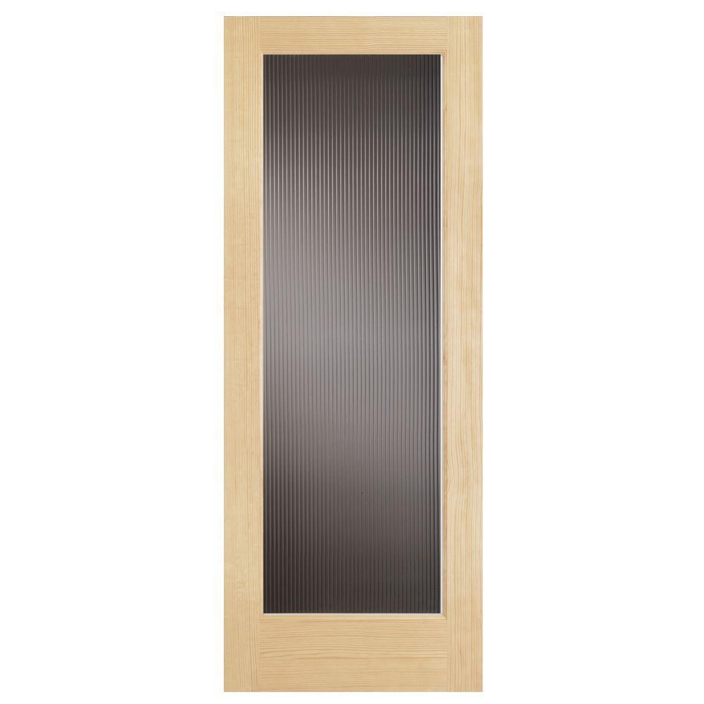 24 in. x 80 in. Modern Full Lite Solid Core Pine Reed Glass Interior Door Slab