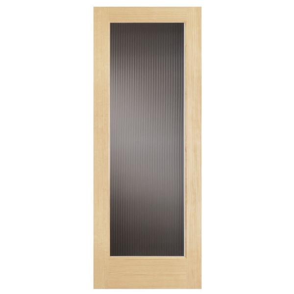 30 in. x 80 in. Modern Full Lite Solid Core Pine Reed Glass Interior Door Slab