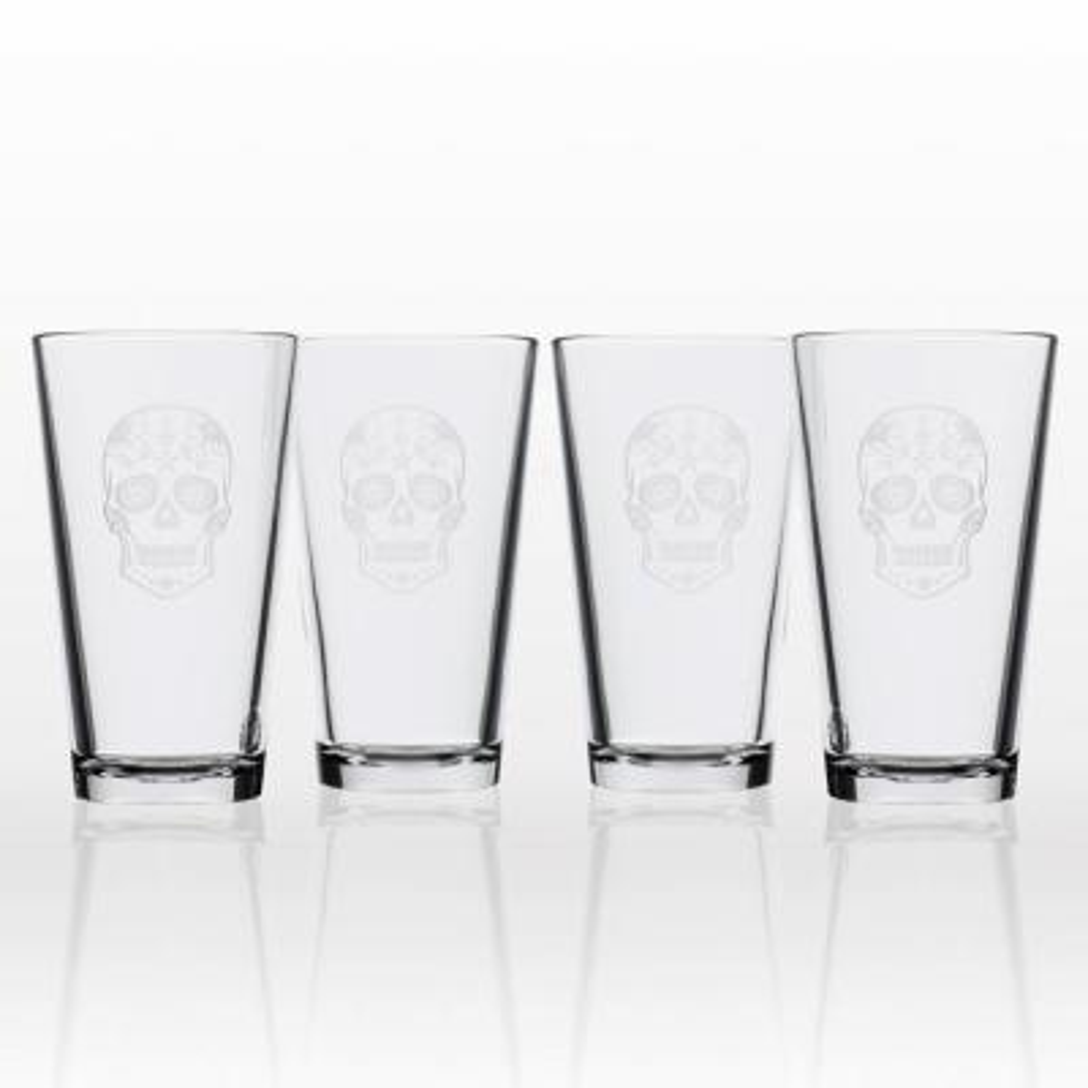 Sugar Skull 16 oz. Pint Glass (Set of 4)