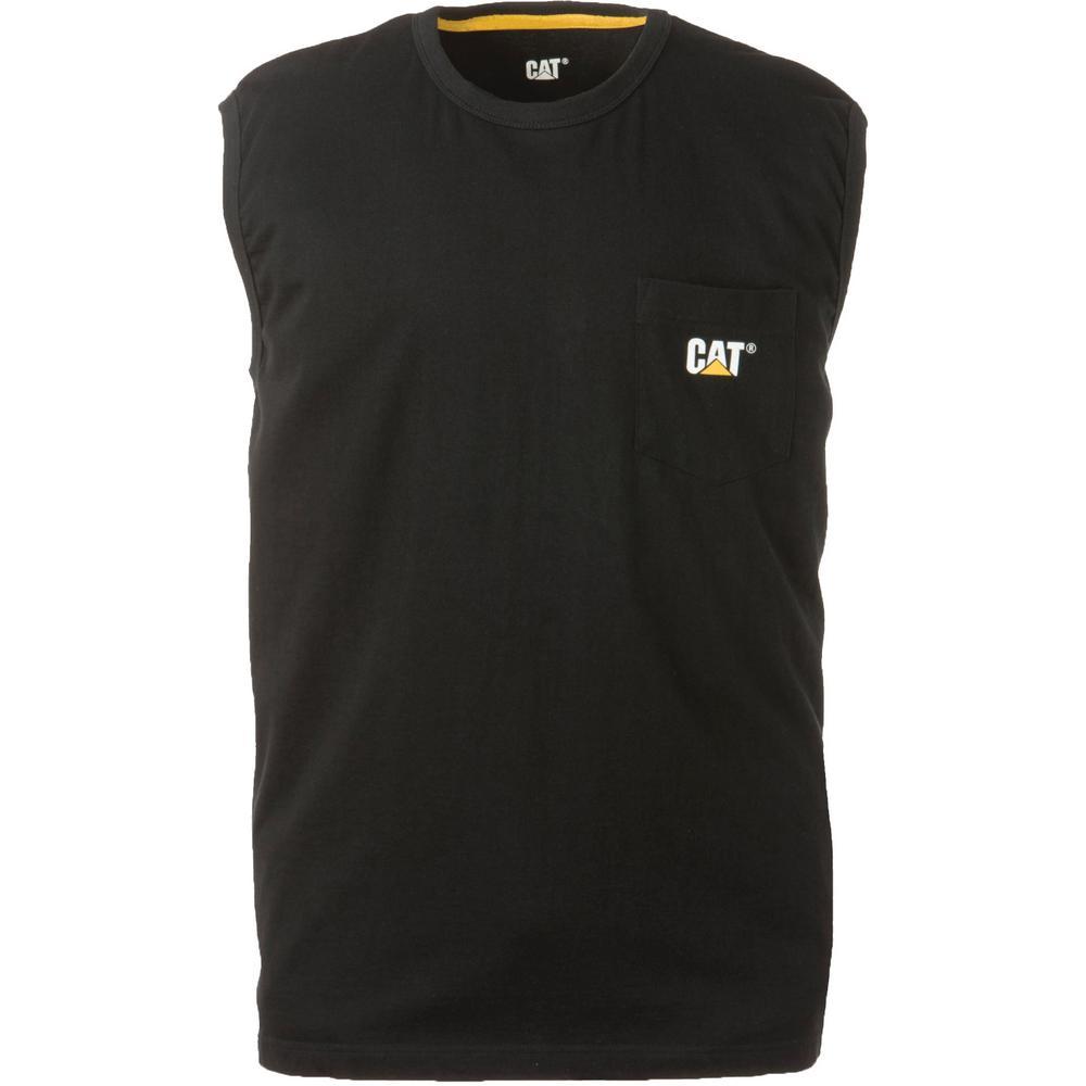 Men's Size 2X-Large Black Cotton Trademark Sleeveless Pocket T-Shirt