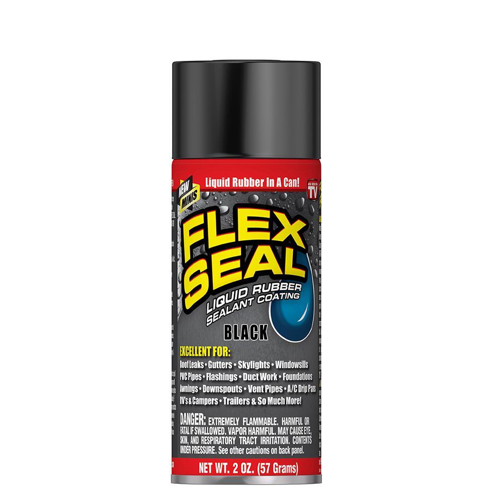 Flex Seal Family Of Products Flex Seal Black Mini Aerosol Rubber Sealant Coating Fsblkmini The Home Depot