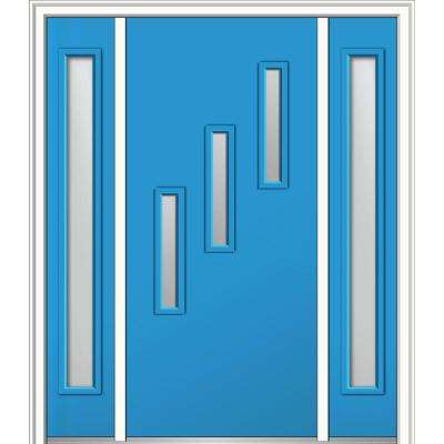 64 in. x 80 in. Davina Right-Hand Inswing 3-Lite Clear Low-E Painted Fiberglass Smooth Prehung Front Door with Sidelites