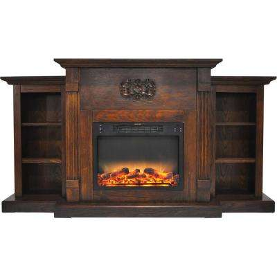 Classic 72 in. Electric Fireplace in Walnut with Built-in Bookshelves and an Enhanced Log Display
