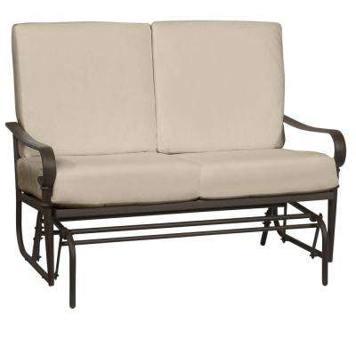 Oak Cliff Brown Steel Outdoor Patio Glider with CushionGuard Putty Tan Cushions