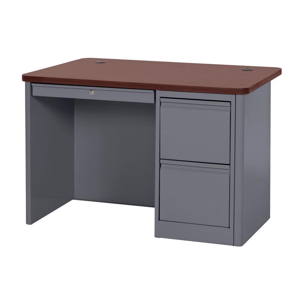 900 Series Single Pedestal Heavy Duty Teachers Desk in Charcoal/Mahogany