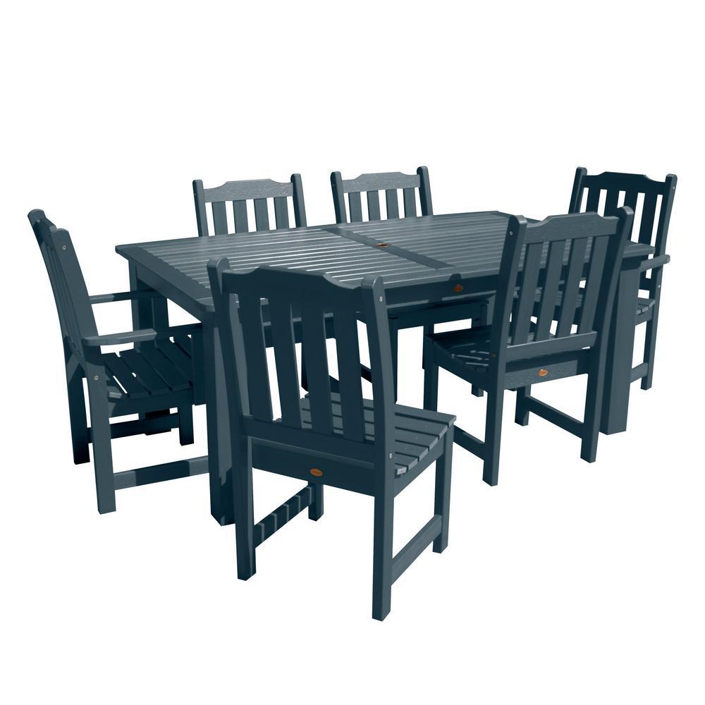 Lehigh Federal Blue 7-Piece Plastic Rectangular Outdoor Dining Set