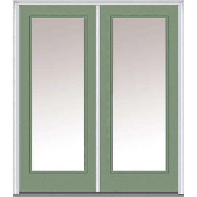 60 in. x 80 in. Clear Glass Left-Hand Full Lite Classic Painted Steel Prehung Front Door