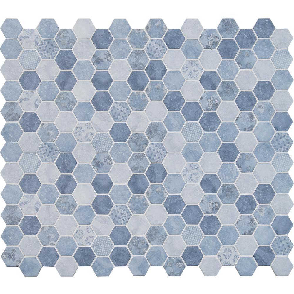 Vista Azul Hexagon 12 in. x 12 in. x 6mm Glass Mesh-Mounted Mosaic Tile (14.7 sq. ft. / case)