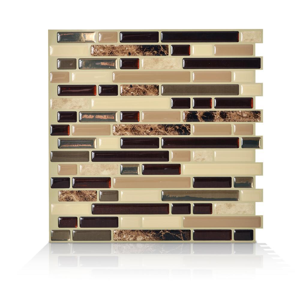 SmartTiles Smart Tiles Bellagio Keystone 10.06 in. W x 10 in. H Peel and Stick Self-Adhesive Decorative Mosaic Wall Tile Backsplash (6-Pack), Beige Marble