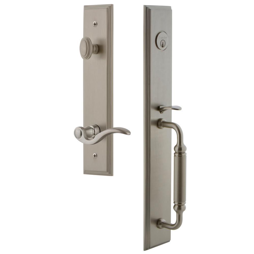 Grandeur Carre' Satin Nickel 1-Piece Dummy Door Handleset with C Grip and Bellagio Lever