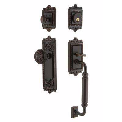 Egg and Dart Plate 2-3/4 in. Backset Timeless Bronze C Grip Keyed Entry Door Handleset with Egg and Dart Knob
