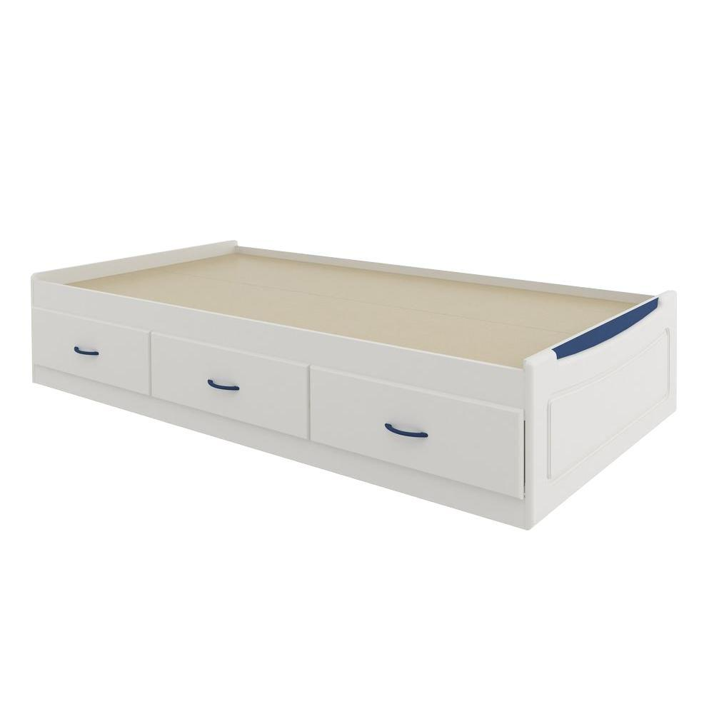 Ameriwood Mates Twin-Size Storage Bed in White with Colored Panel