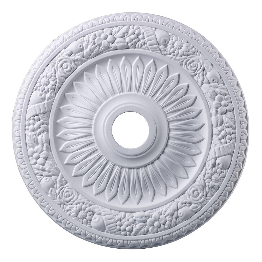 Titan Lighting Floral Wreath 24 in. White Ceiling Medallion