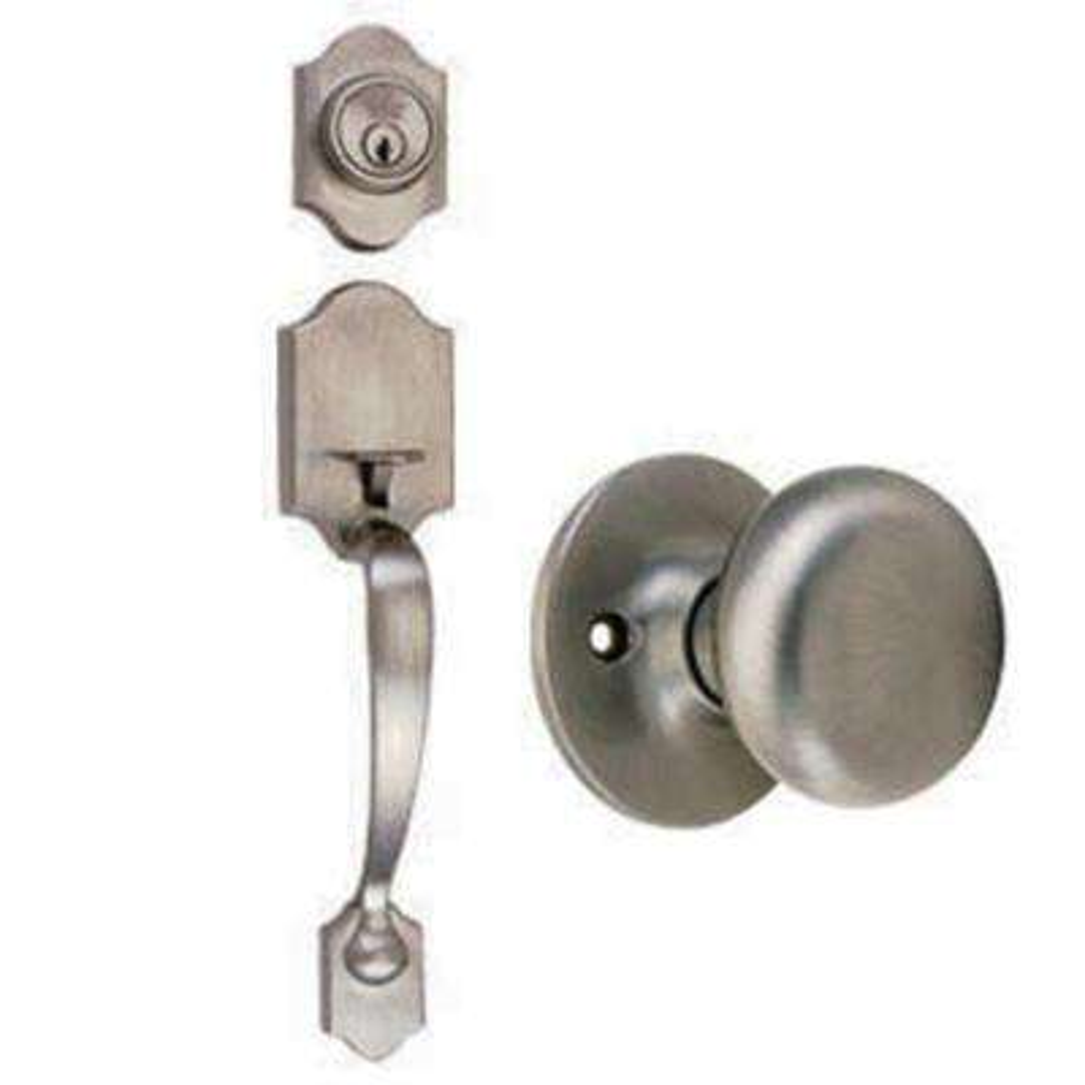 Sussex Satin Nickel Handleset with Cambridge Knob Interior and Single Cylinder Deadbolt