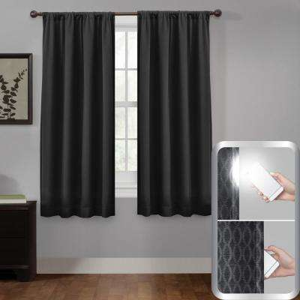 "Certified 100 Percent Blackout Jamie Smart Curtain Window Curtain Panel 50"" w x 63"""
