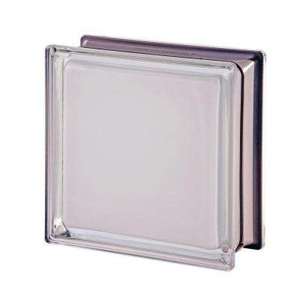 Mendini Q19 White 100% 7.48 in. x 7.48 in. x 3.15 in. Clear Pattern Glass Block (5-Pack)