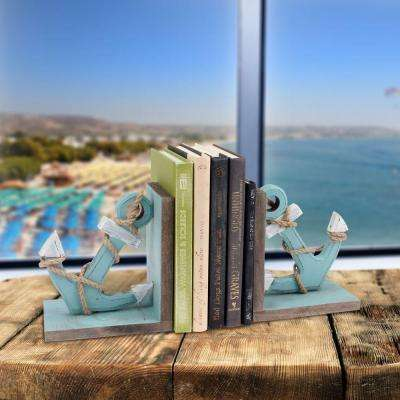 8.5 in. Light Blue Worn Wood Book Ends (2-Piece)
