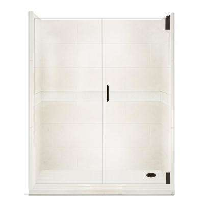 Classic Grand Hinged 30 in. x 60 in. x 80 in. Right Drain Alcove Shower Kit in Natural Buff Old Bronze Hardware