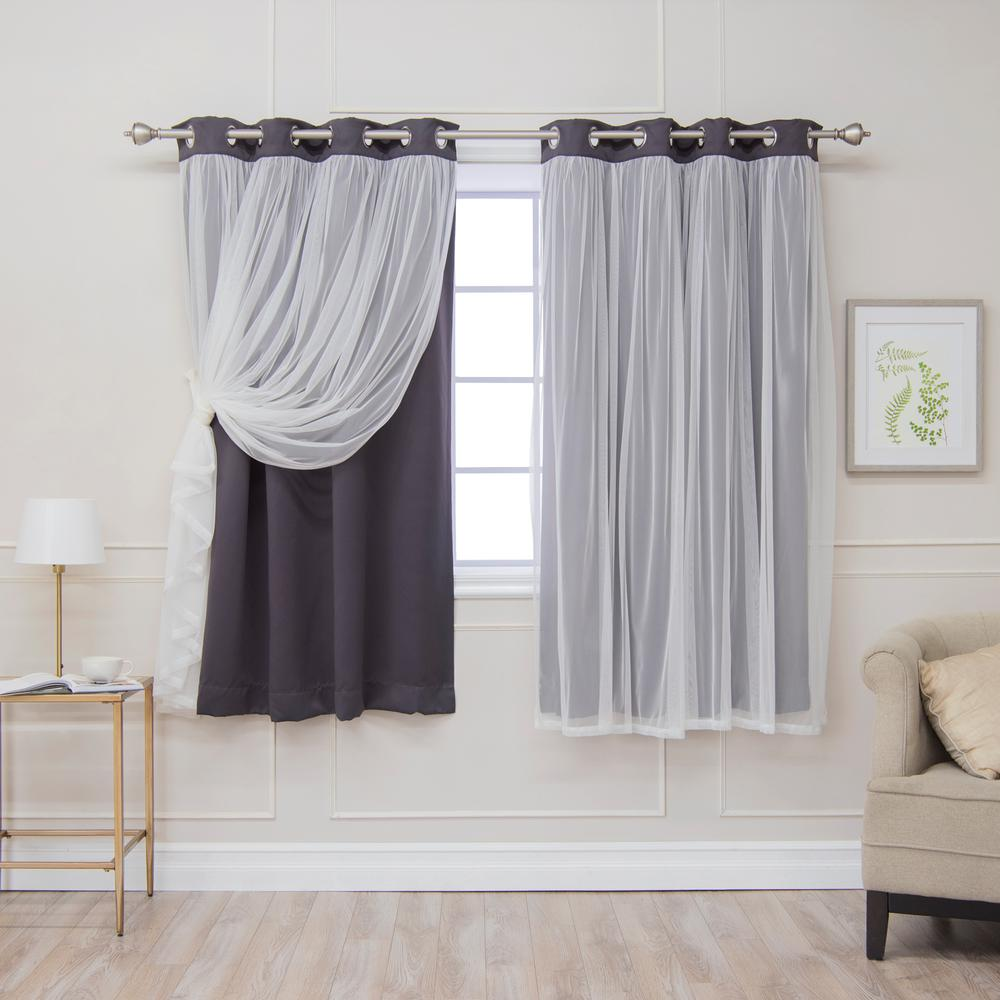 Best Home Fashion 63 in. L Dark Grey Marry Me Lace Overlay Blackout Curtain Panel (2-Pack)
