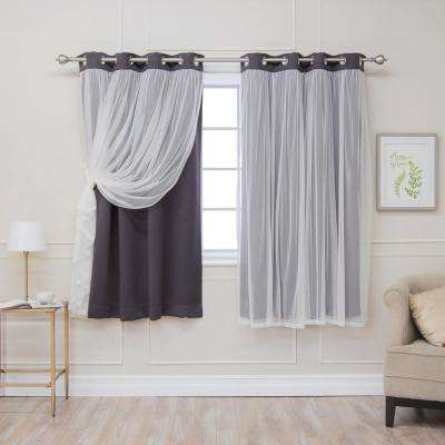 63 in. L Dark Grey Marry Me Lace Overlay Blackout Curtain Panel (2-Pack)