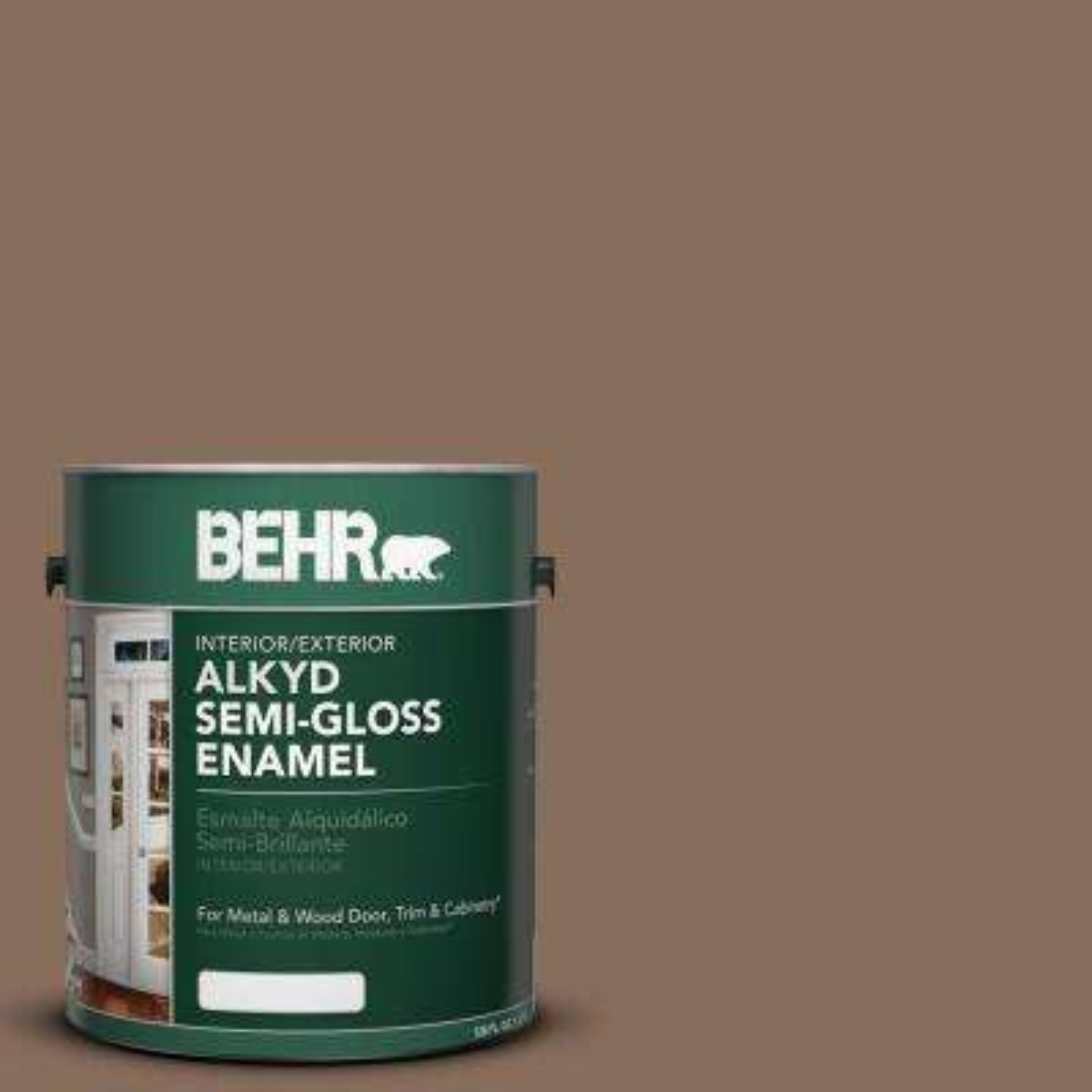 1 gal. #AE-30 Brown Cabin Semi-Gloss Enamel Alkyd Interior/Exterior Paint