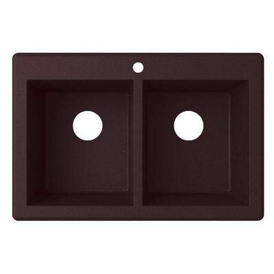 Drop-In/Undermount Granite 33 in. 1-Hole 50/50 Double Bowl Kitchen Sink in Espresso