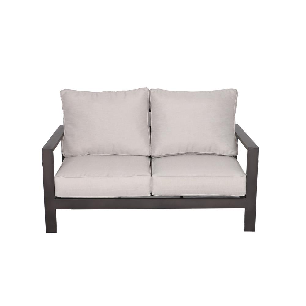 Envelor Atlantis Patio Aluminum Outdoor Loveseat with Olefin Beige Cushions