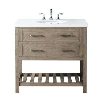 Wimsbury 37 in. W x 22 in. D Bath Vanity in Weather Oak with Marble Vanity Top in White with White Basin