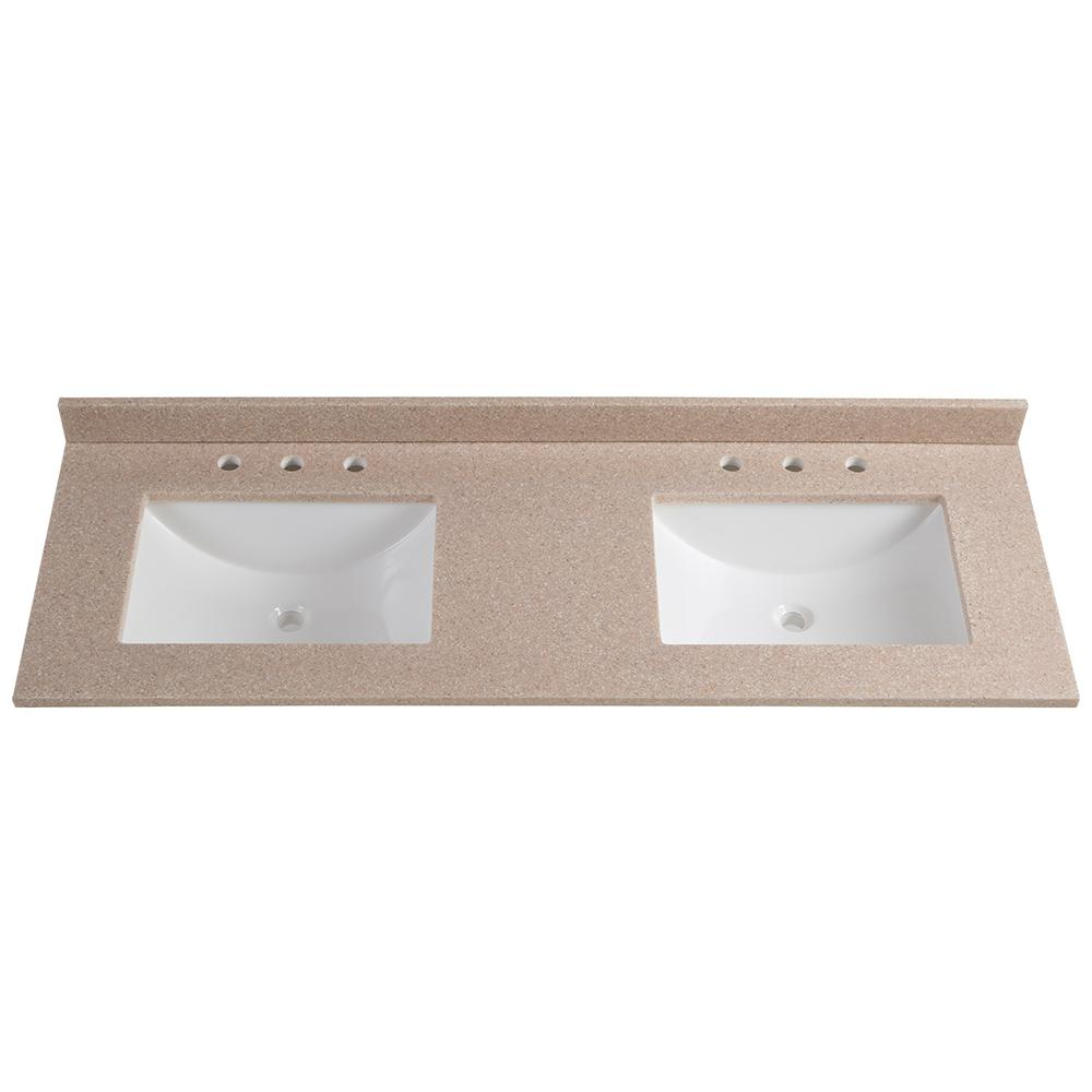 61 in. W x 22 in. D Solid Surface Double Vanity