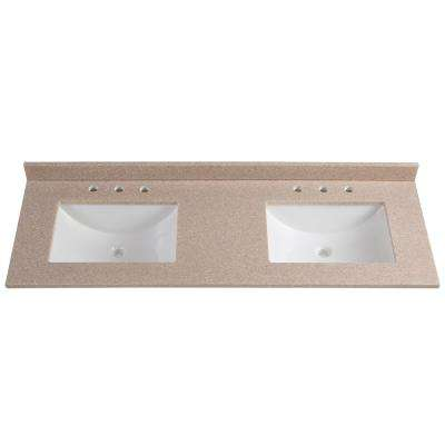 61 in. W x 22 in. D Solid Surface Double Vanity Top in Ginger with White Sinks
