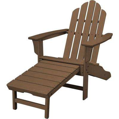 Teak All-Weather Plastic Outdoor Adirondack Chair with Hide-Away Ottoman