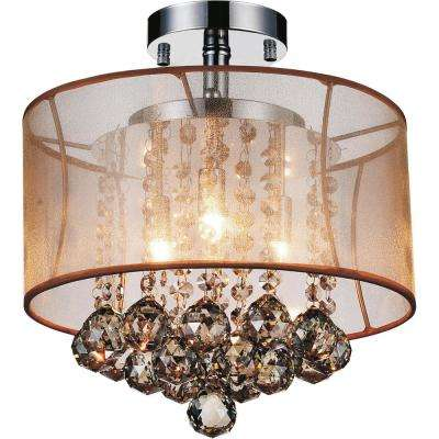 Radiant 3-Light Chrome Semi-Flush Mount