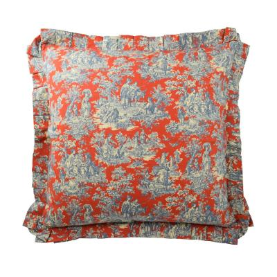 Sanctuary Rose Heritage Blue Floral Cotton 26 in. x 26 in. Throw Pillow