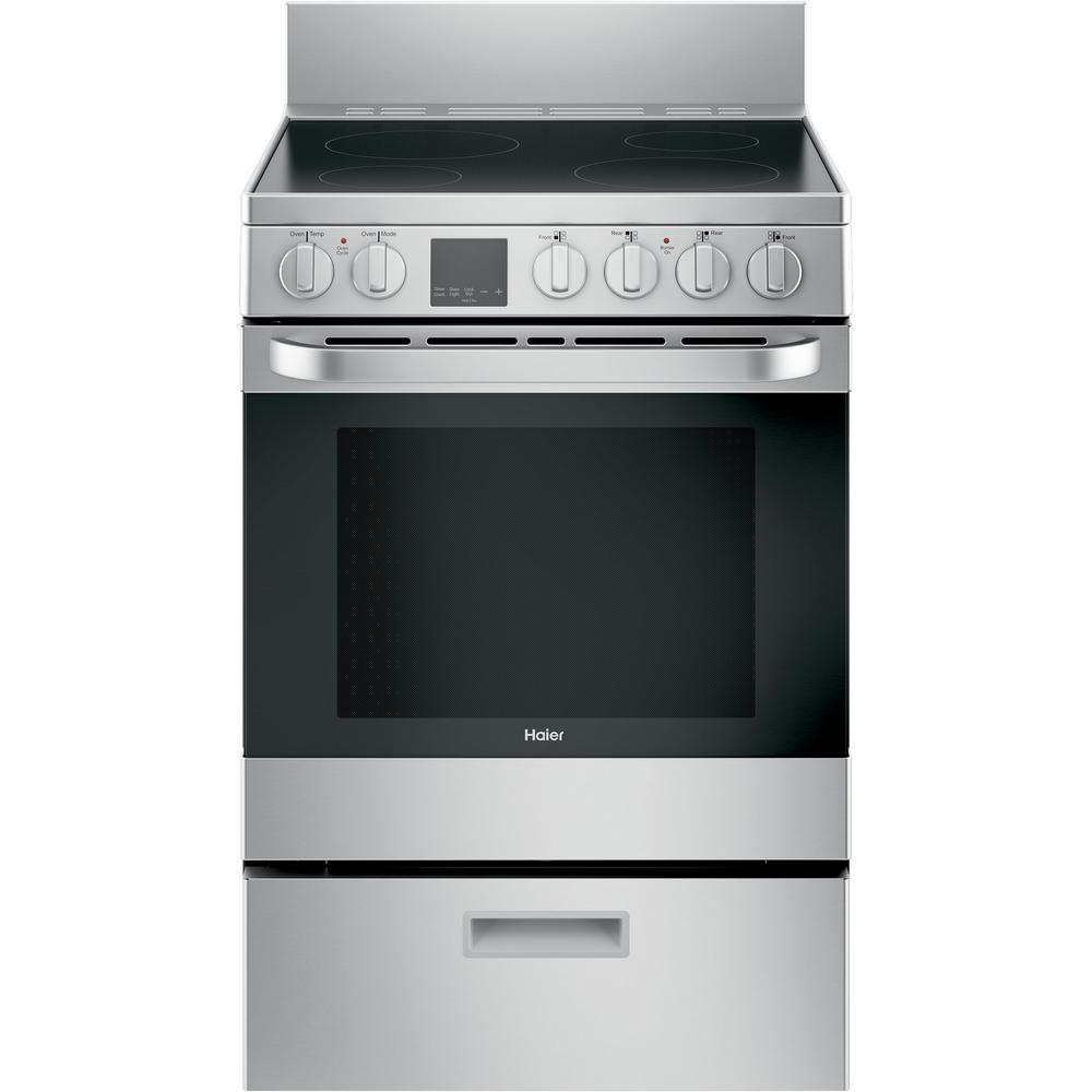 Haier 24 in. 2.9 cu. ft. Electric Range with Self-Cleaning Convection Oven in Stainless Steel