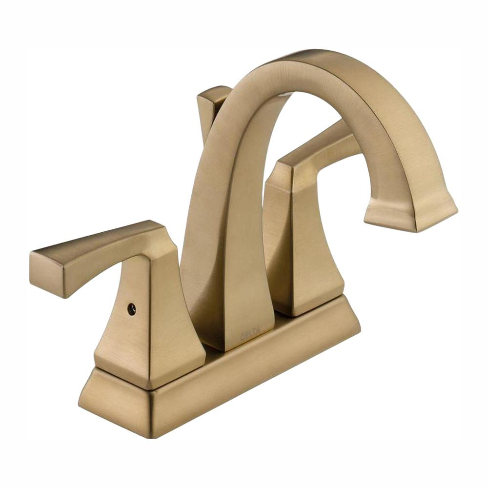 Delta Dryden 4 in. Centerset 2-Handle Bathroom Faucet with Metal Drain Assembly in Champagne Bronze